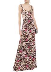 Roberto Cavalli Woman Cutout Printed Stretch-silk Satin Maxi Dress Multicolor