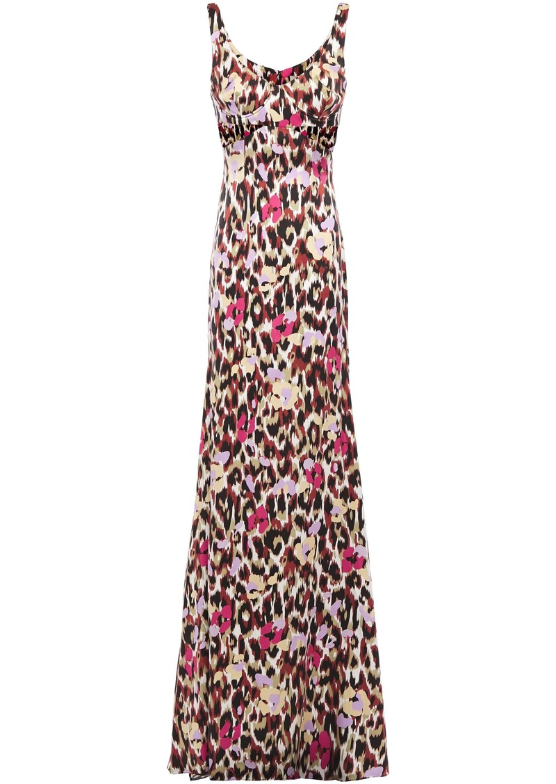 Roberto Cavalli Woman Cutout Printed Stretch-silk Satin Maxi Dress Multicolor