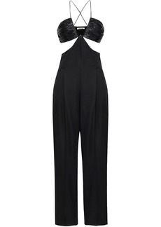 Roberto Cavalli Woman Cutout Ruched Satin And Woven Jumpsuit Black