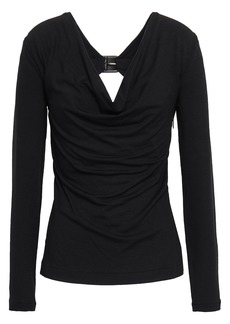 Roberto Cavalli Woman Cutout Stretch-knit Top Black