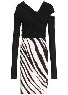 Roberto Cavalli Woman Cutout Zebra-print Stretch-jersey Dress White