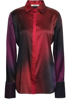 Roberto Cavalli Woman Dégradé Silk-blend Satin Shirt Multicolor