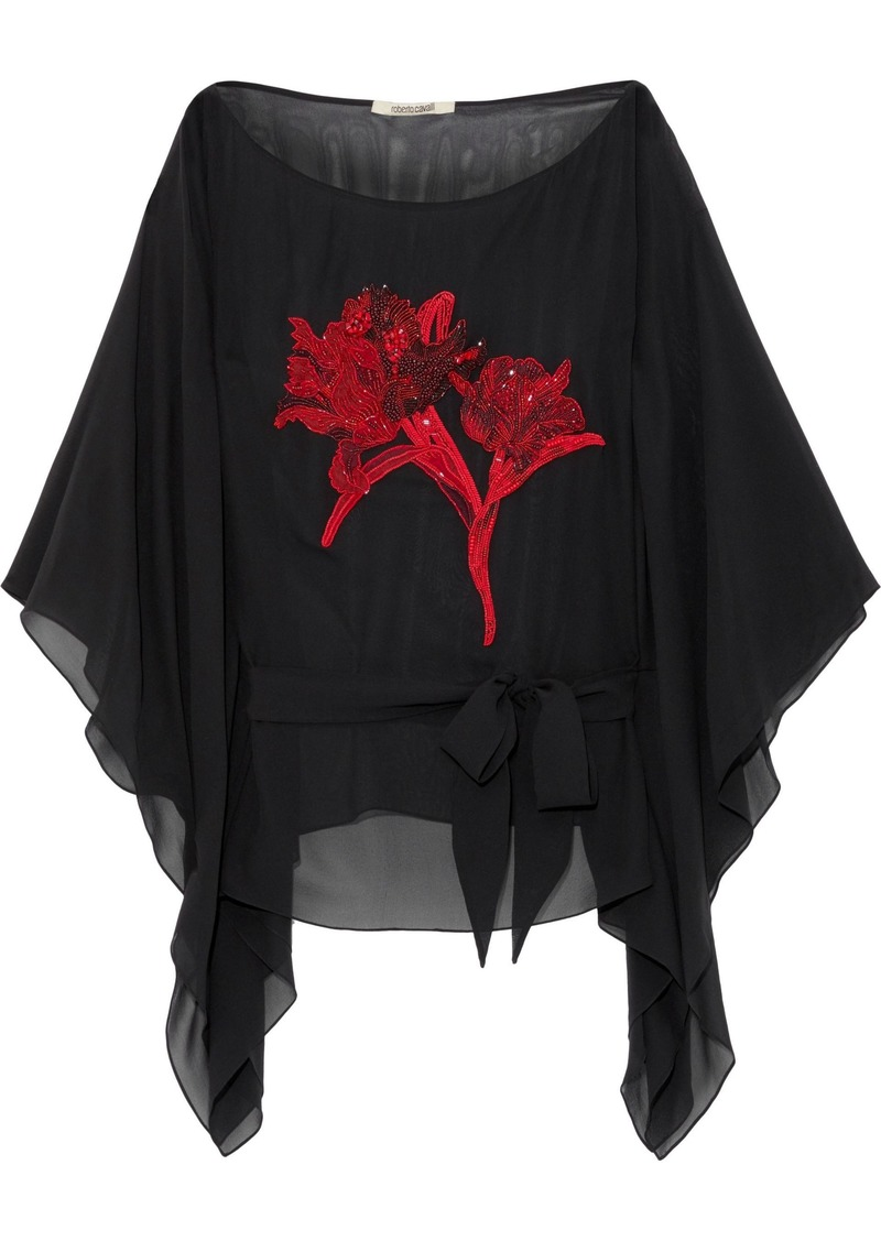 Roberto Cavalli Woman Draped Bead-embellished Silk And Cotton-blend Top Black