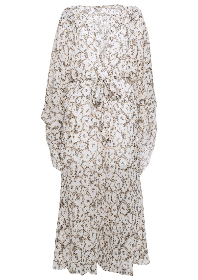Roberto Cavalli Woman Draped Belted Leopard-print Silk-georgette Jumpsuit Off-white