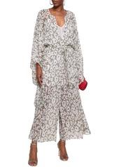 Roberto Cavalli Woman Draped Belted Leopard-print Silk-georgette Jumpsuit Off-white