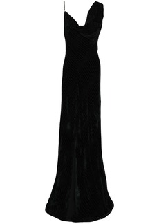 Roberto Cavalli Woman Split-front Draped Devoré-velvet Gown Black