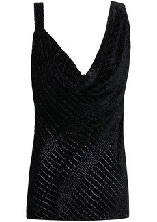 Roberto Cavalli Woman Draped Devoré-velvet Top Black