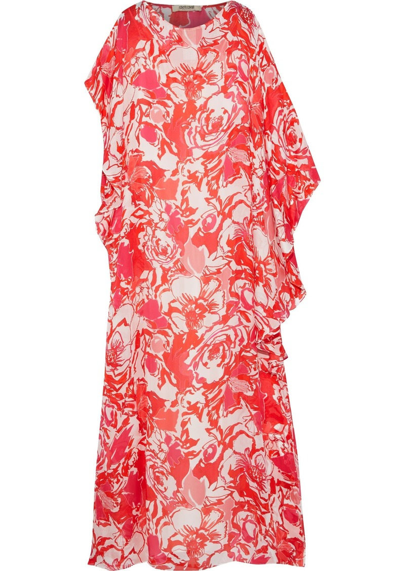 Roberto Cavalli Woman Draped Printed Silk-voile Maxi Dress Tomato Red
