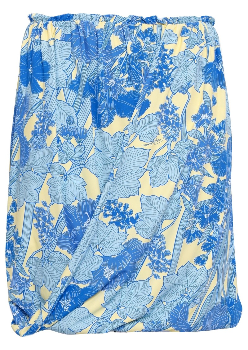 Roberto Cavalli Woman Draped Floral-print Stretch-jersey Mini Skirt Light Blue