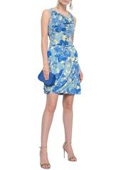 Roberto Cavalli Woman Draped Floral-print Stretch-jersey Mini Skirt Light Blue