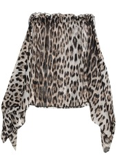 Roberto Cavalli Woman Draped Leopard-print Cotton And Silk-blend Voile Mini Skirt Animal Print