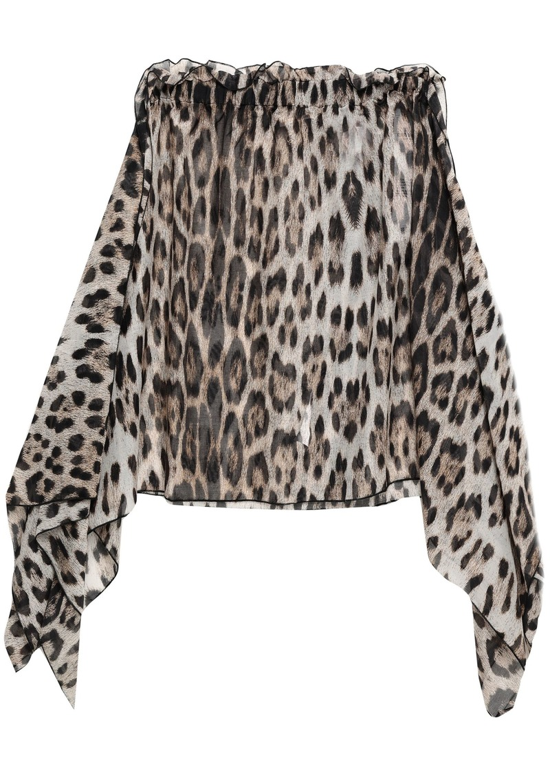 Roberto Cavalli Woman Draped Leopard-print Cotton And Silk-blend Voile Mini Skirt Animal Print