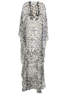 Roberto Cavalli Woman Draped Leopard-print Silk-georgette Maxi Dress Stone