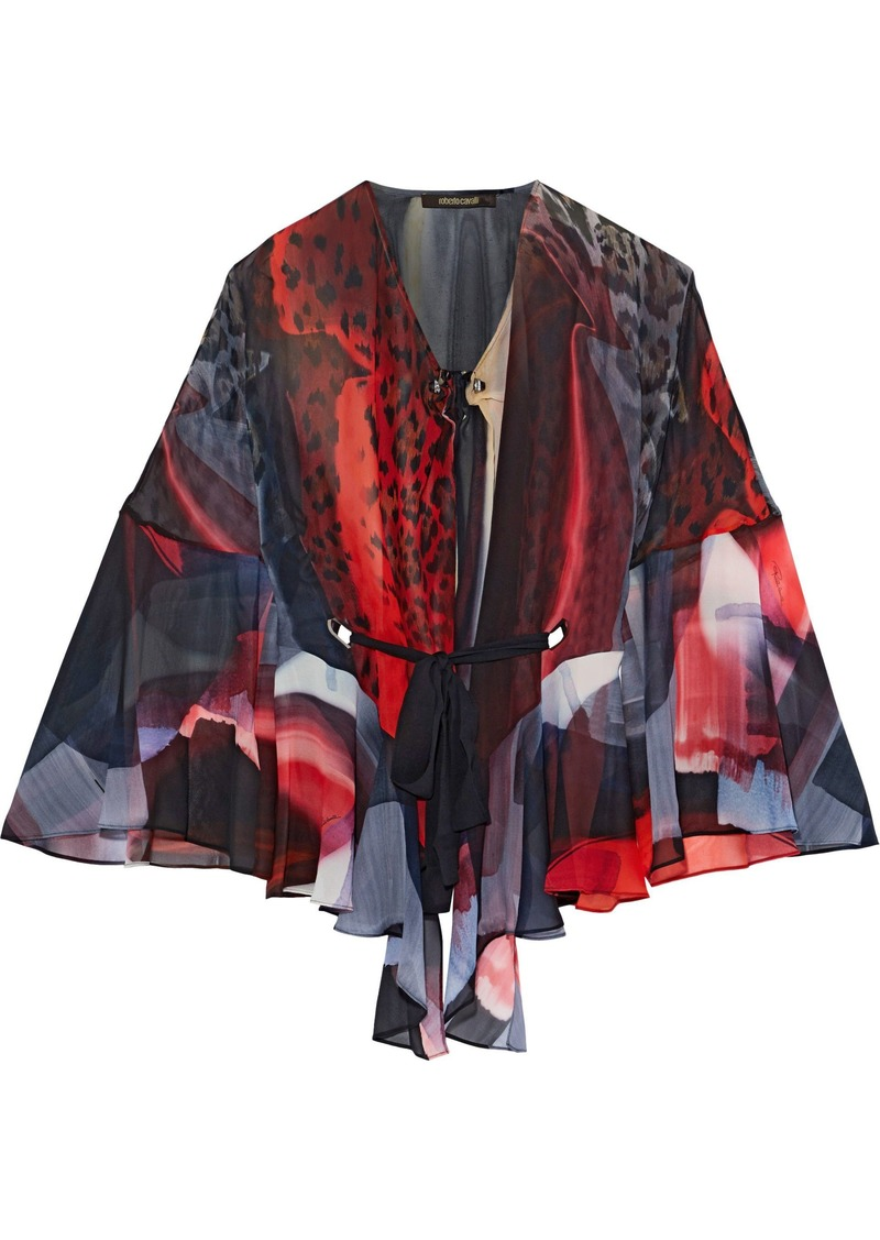 Roberto Cavalli Woman Draped Printed Silk-chiffon Blouse Multicolor