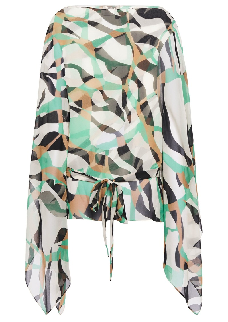 Roberto Cavalli Woman Draped Printed Silk-chiffon Top Ivory