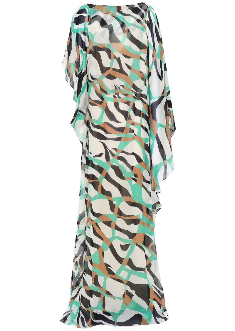 Roberto Cavalli Woman Draped Printed Silk-georgette Kaftan Cream