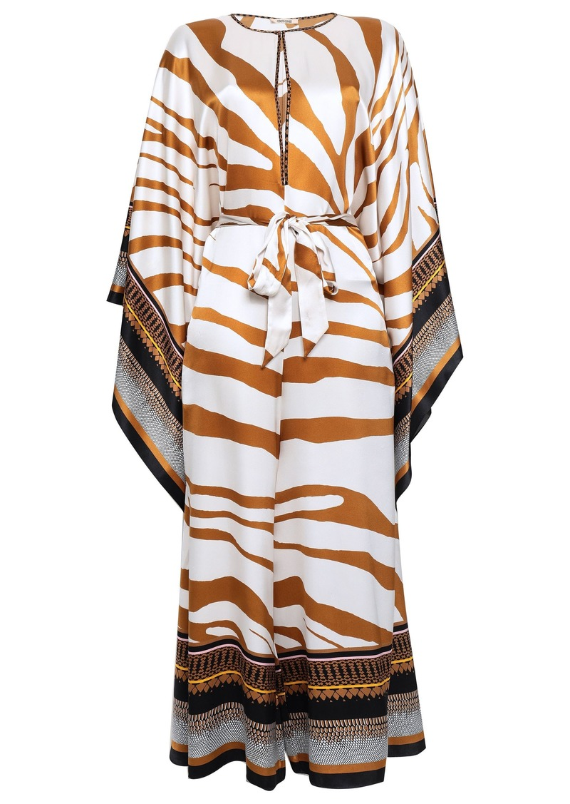 Roberto Cavalli Woman Draped Printed Silk-satin Jumpsuit Light Brown