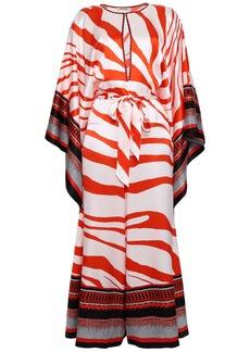 Roberto Cavalli Woman Draped Printed Silk-satin Jumpsuit Tomato Red
