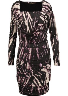 Roberto Cavalli Woman Draped Printed Stretch-jersey Mini Dress Dark Purple