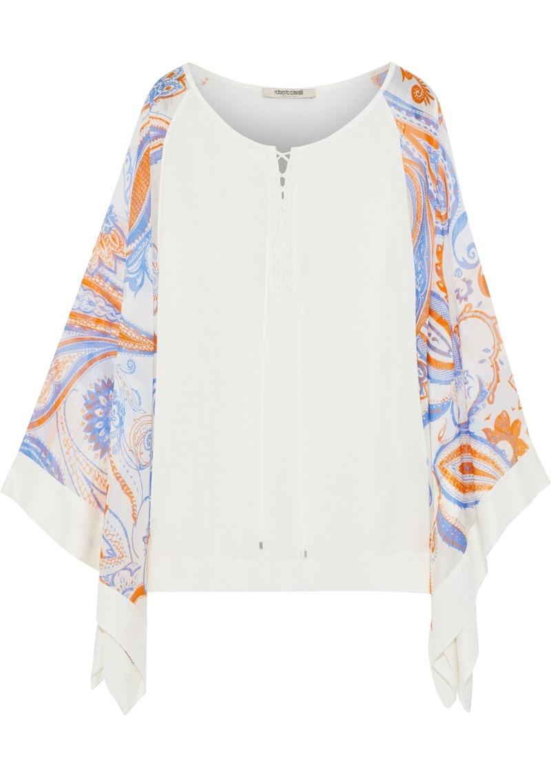 Roberto Cavalli Woman Printed Voile-paneled Lace-up Stretch-knit Top Ivory