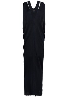 Roberto Cavalli Woman Draped Ribbed-knit Maxi Dress Navy