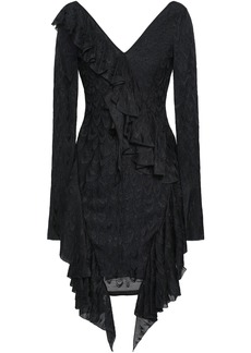 Roberto Cavalli Woman Draped Ruffled Lace Mini Dress Black