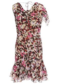 Roberto Cavalli Woman Draped Ruffled Silk-georgette Mini Dress Merlot
