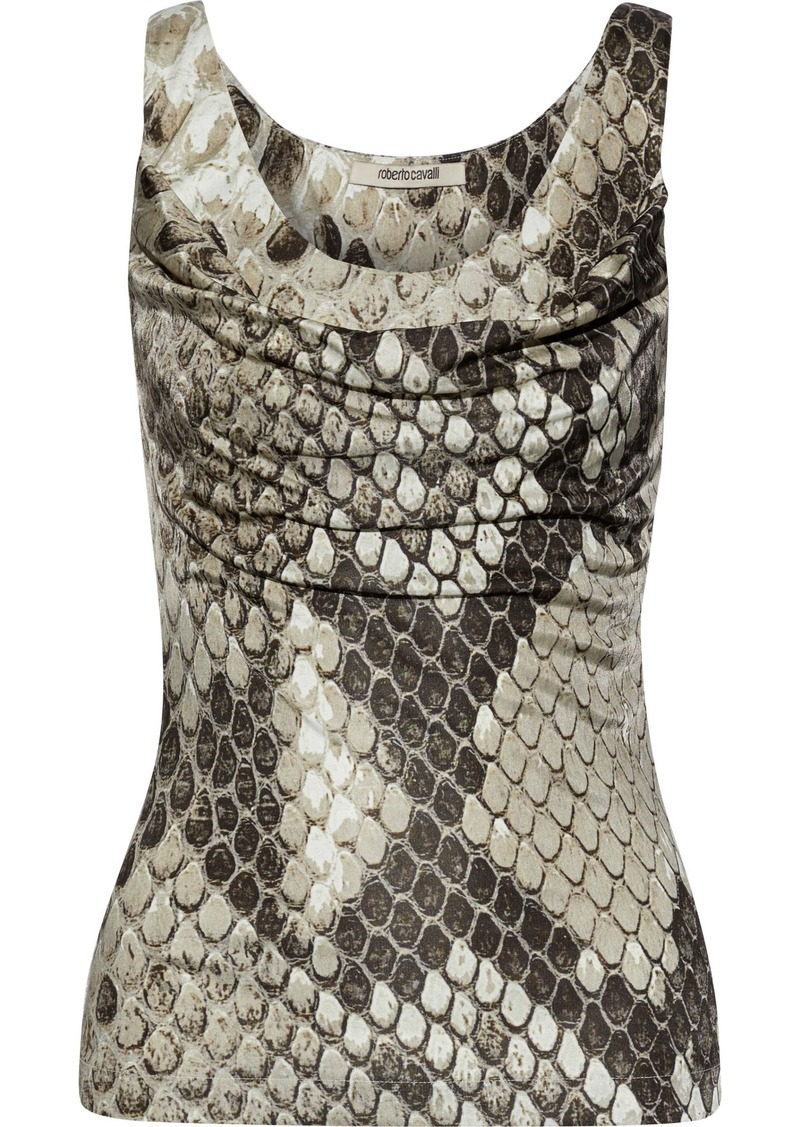 Roberto Cavalli Woman Draped Snake-print Stretch-jersey Tank Taupe