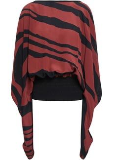 Roberto Cavalli Woman Draped Zebra-print Silk Crepe De Chine Blouse Brick