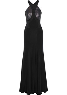 Roberto Cavalli Woman Elaphe And Satin-paneled Silk Crepe De Chine Gown Black