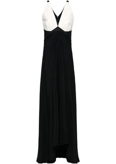 Roberto Cavalli Woman Elaphe-paneled Stretch-silk Crepe Gown Black