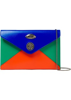 Roberto Cavalli Woman Embellished Color-block Leather Envelope Clutch Royal Blue