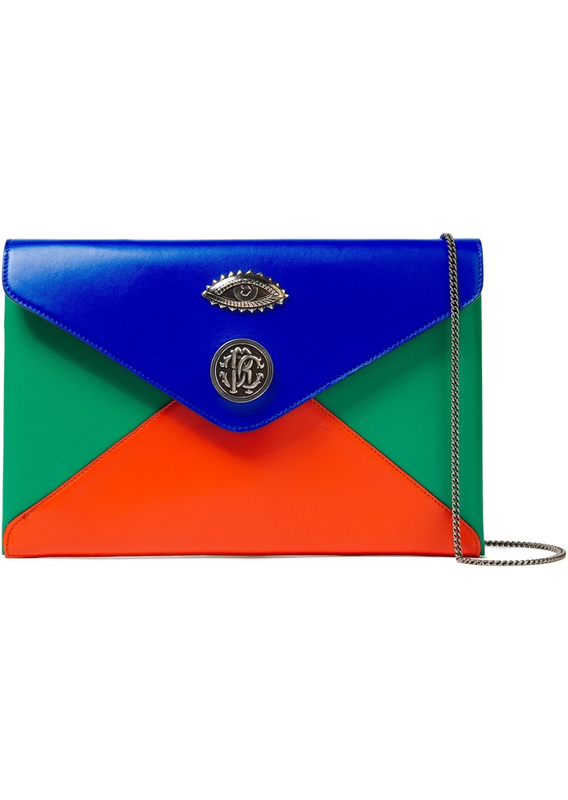 Roberto Cavalli Woman Embellished Color-block Leather Envelope Clutch Royal Blue