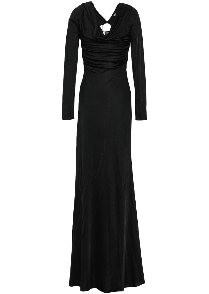 Roberto Cavalli Woman Embellished Cutout Jersey Maxi Dress Black