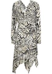 Roberto Cavalli Woman Embellished Cutout Leopard-print Silk Crepe De Chine Mini Dress Stone