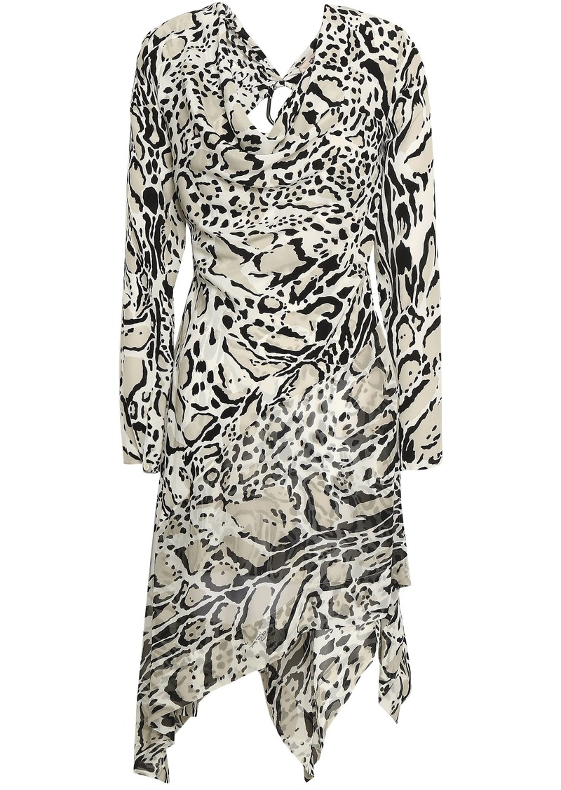 Roberto Cavalli Woman Embellished Cutout Leopard-print Silk Crepe De Chine Mini Dress Stone