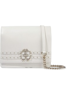 Roberto Cavalli Woman Embellished Leather Shoulder Bag Ivory
