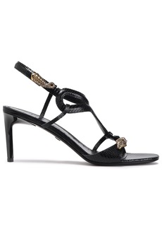 Roberto Cavalli Woman Embellished Lizard-effect Leather Slingback Sandals Black