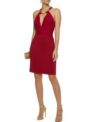 Roberto Cavalli Woman Embellished Plissé-gauze And Stretch-knit Dress Red