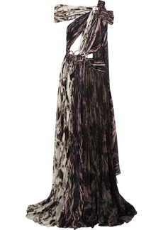 Roberto Cavalli Woman Embellished Printed Plissé Silk Gown Black