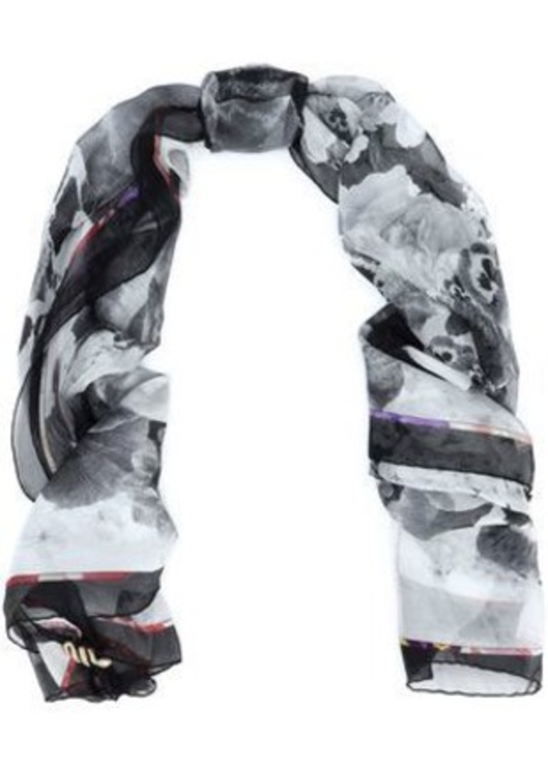 Roberto Cavalli Woman Embellished Printed Silk-chiffon Scarf Gray