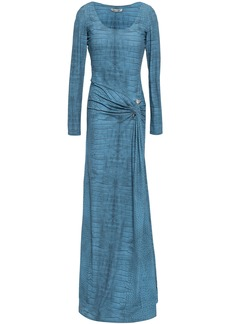 Roberto Cavalli Woman Embellished Printed Stretch-jersey Gown Light Blue
