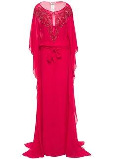 Roberto Cavalli Woman Embellished Silk-chiffon Kaftan Fuchsia