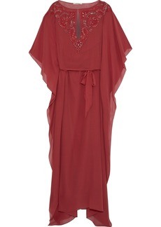 Roberto Cavalli Woman Belted Embellished Silk Crepe De Chine Gown Brick