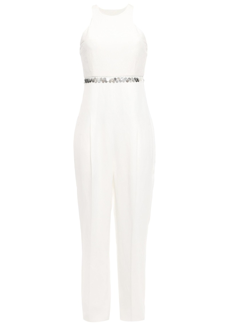 Roberto Cavalli Woman Strapless Embellished Silk Crepe De Chine-paneled Twill Jumpsuit Ivory