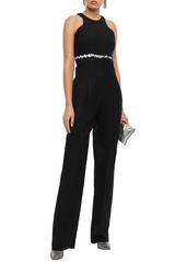 Roberto Cavalli Woman Strapless Embellished Silk Crepe De Chine-paneled Twill Jumpsuit Black