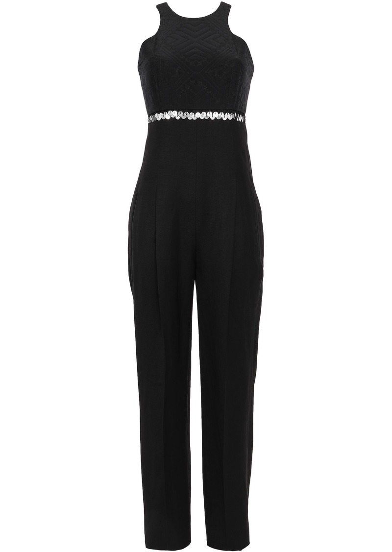 Roberto Cavalli Woman Strapless Embellished Silk Crepe De Chine-paneled Twill Jumpsuit Black