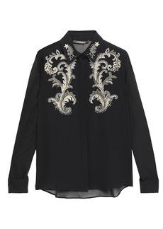 Roberto Cavalli Woman Embellished Silk-georgette Blouse Black