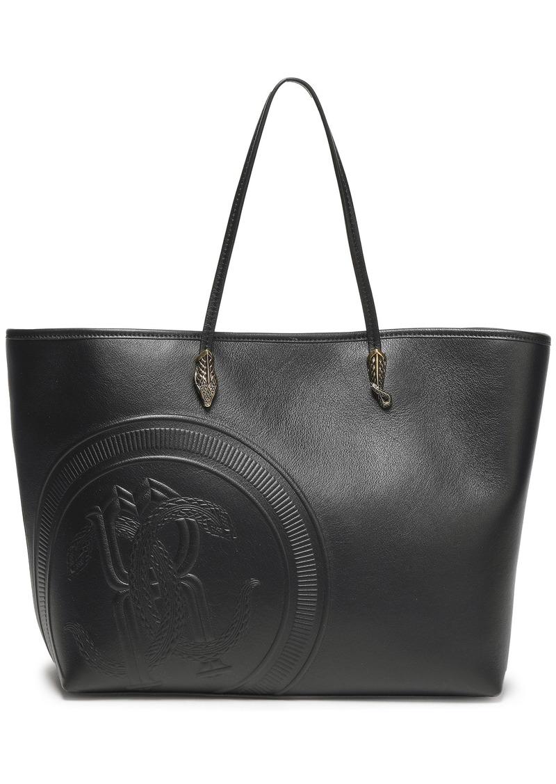 Roberto Cavalli Woman Embossed Leather Tote Black
