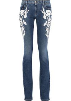 Roberto Cavalli Woman Embroidered Faded Mid-rise Slim-leg Jeans Mid Denim